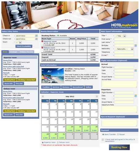 Hotel Reservation Software Example